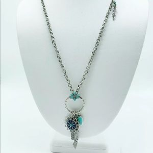 Lucky Brand Feather Silver Necklace Turquoise